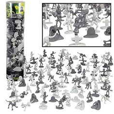 SCS Direct Zombie Army Action Figures - Big Bucket of 100 Zombies with 14 Unique Sculpts - Zombies, Pets, Graves, and Humans for Playtime, Decoration and Parties Zombie Army, Zombie Walk, Dead Zombie, Zombie Themed Party, Big Bucket, Batman Action Figures, Fantasy Creatures, Zombies, Dungeons And Dragons