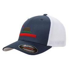 a124b11f0b6 California State Republic Flag Mesh Flexfit Bear Yupoong Adult Retro  Trucker Cap Hat 6511