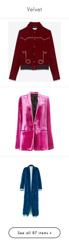 """Velvet"" by jckyleeah ❤ liked on Polyvore featuring outerwear, jackets, yves saint laurent jacket, varsity jacket, red jacket, velour jacket, letterman jackets, blazers, pink jacket and velvet jacket"