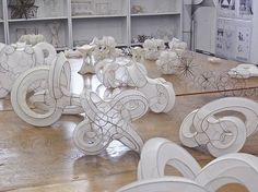 3-D Recreate--small scale, wire sculpture using nylon stockings pulled over the shapes?