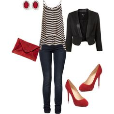 not a fan of crop tops; there would def. be a black tank under this. but SO cute. I am loving stripes with red :)