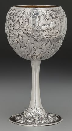 S Kirk & Son coin silver repoussé  goblet in the Architectural (aka Landscape) pattern - Baltimore, c1860