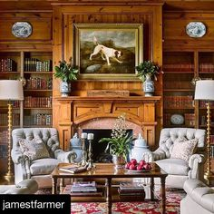 Inspiring Interior Designers-James Farmer Home Library-Pine finish-Fireplace design-Study-Rustic Traditional Furniture English Decor, Decor, Cozy Home Library, Paneled Library, House Design, English Country Decor, Cozy House, Interior Design, Traditional Decor