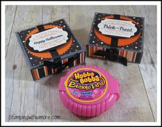 3-d Paper Crafts, Stamping, Stampin'Up, Bags and Boxes, Rubber stamping supplies, Halloween Bubble Gum Box, Halloween Box, Halloween Treat Holders, Box making, Spooky Cat Stamp Set, Stampin'Up Spooky Night designer series paper, Paper Crafts,