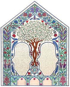 One of a kind - Trees & Flowers - Custom Ketubah Turkish Tiles, Illuminated Manuscript, Hamsa, Watercolor Paper, Pottery, Symbols, Ink, Shapes, Flowers