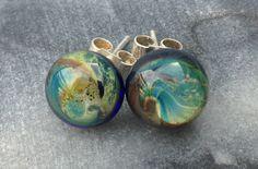 Galaxy stud earrings by Isla Osborne. Lampworked glass, silver. NZ$35 buy from felt.co.nz