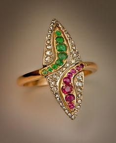 Antique Navette Shaped Emerald Ruby Diamond Gold Ring - Early 1900s Edwardian/Ar t Nouveau Jewelry