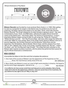 Worksheets: History of Motown