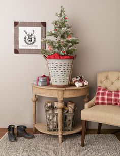 from homegoods small space christmas decor is possible pairing this flocked mini tree and galvanized grape bucket - Home Goods Christmas