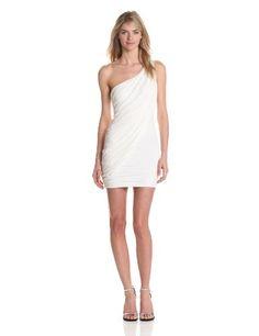 Bcbgmaxazria Women's Sima One Shoulder Gown, White, Large