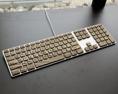 Engrain Tactile Keys - Naturally textured wooden stickers for Apple Keyboards    -Standard size.  From MRoopenianDesign