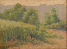 Katherine Adams Lovell (American, Impressionist oil on canvas landscape with thick impasto, depicting rolling hills in late summer. x sight, x framed. Franklin Carmichael, Tom Thomson, Spring Scene, Emily Carr, Pratt Institute, Group Of Seven, Canvas Board, Canadian Artists, Impressionism