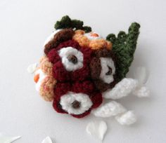 Hand Crochet Large Corsage Brooch Spring Flower by CraftsbySigita on Etsy