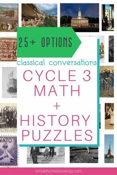 Cycle 3 Math   History Puzzles - perfect for classical conversations cycle 3 or any American history unit.  Combine beauty, truth, and goodness with math, art and history.