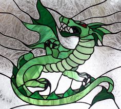 Dragon Stained Glass Panel with Oak Frame