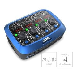 SKYRC Quattro Micro Charger Discharger AC/DC for Lipo Battery    Description: Brand:SkyRC Item:Quattro Micro Charger AC Input: 100-240V DC Input: 11-15V Charge circuit power: 4X4W ±10% Charge current range: 0.1-1.0A ±10% Net weight: 280g Dimension:132x100x50mm Battery connector...