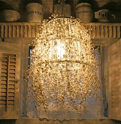 light fixture made with pearls