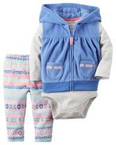 Crafted in plush fleece with a cozy hood, this vest set is complete with a soft cotton bodysuit and pants.