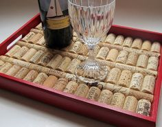 Tuscan Red Wine Cork Serving Tray  Wedding от LizzieJoeDesigns, $40.00