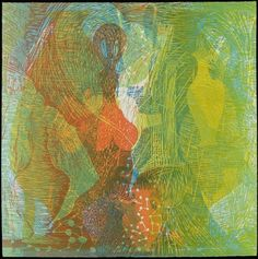 Angel in Riptide by Susan Goldman, monotype with woodcut, 2009