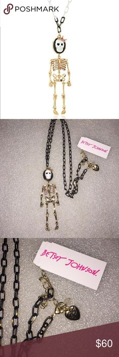 Betsey Johnson necklace Selling to buy betsey pieces I need. This is from the skeletons in the dark collection. The necklace is black with gold tone. The gorgeous  charm is of a large skeleton queen. The top has a skeleton face with a tiara. The body has encrusted rhinestones. NWT Betsey Johnson Jewelry Necklaces
