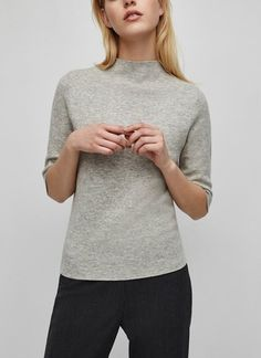 Grey Wool Blend Top by Adolfo Dominguez  Grey top with 3/4 sleeves | Black slim pants | Black cigarette trousers | Minimalist casual wear | Capsule wardrobe | Slow fashion | Simple style | Minimalist style | Stylish businesss casual | Scandinavian casual wear | Stylish work outfit by Adolfo Dominguez