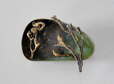 Nikolai Balabin - Golden Bird, brooch, 2008, silver, patina, leaf gold, 56 mm