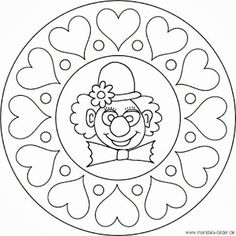 Mandala clown face - clown with hearts as a coloring page - - Clown Crafts, Carnival Crafts, Mandala Kids, Coloring Book Pages, Coloring Sheets, Clown Cirque, Clown Party, Clown Faces, Fete Halloween