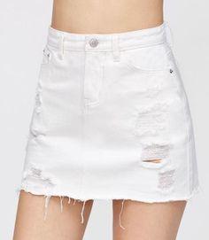 Dotfashion Distressed Fray Hem Denim Skirt 2018 New White Ripped Casual Women Bottom Mid Waist Sheath Short Plain Skirt Denim Skirts Online, Ripped Denim Skirts, A Line Denim Skirt, White Denim Skirt, Denim Skirt Outfits, White Skirts, Short Skirts, Mini Skirts, Tumblr Outfits