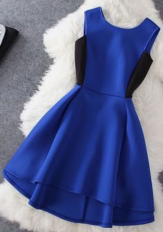 Fashion blue sleeveless dress