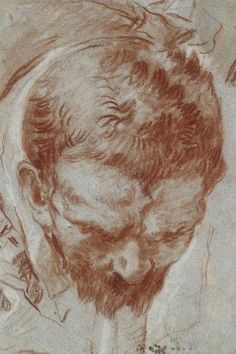 Giovanni Battista Tiepolo (1696‒1770), Head of a man foreshortened. Red and white chalk on blue paper