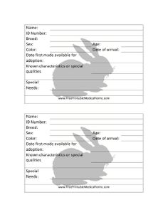 This Cage Card has space to record vital information about a rabbit being offered for adoption. Free to download and print