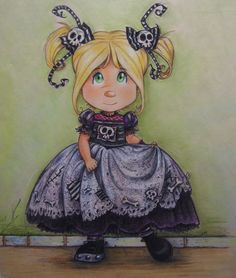 Gothic Little girl (Dibujo),  8x11 in por Pilar Agrelo Thank you for visiting the  GOTHIC SWEET STUDIO GALLERY I am artist ,illustrator and greeting card designer from Peru currently living New York. I love drawing painting  and have been creating  colorful   hand-painting and collage for nearly twenty years. All This is wonderful  art  prints  of my original artwork is offered in two sizes .The large unframed print is  16'x 11' are  $ 15..00 ,The smaller version is 9' x11' prints limited…