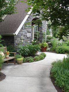 Cottage Garden Design Curb Appeal Perennial Tutor www. Cottage Garden Design, Us Images, Curb Appeal, Perennials, Sidewalk, Patio, Landscape, Building, Outdoor Decor