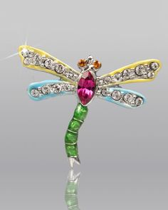 Yellow & Blue Dragonfly Pin by Jay Strongwater at Neiman Marcus.