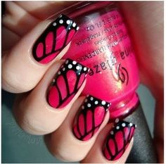 butterflies everywhere #pink #nail #polish