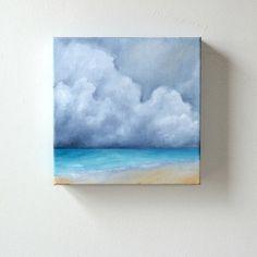 JULY SALE 15% OFF Seascape oil painting original art clouds home decor painting 8x8  - Tropical Explorer