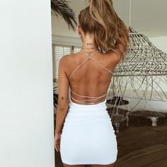 Sexy rückenfreies Bandage Slip Dress – Lupsona – tattoos for women small Mini Tattoos, Cute Tattoos, Dainty Tattoos, Hoco Dresses, Cute Dresses, Homecoming Dresses Tight, Prom, Open Back Dresses, Casual Dresses