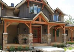 Cobble Stone Kawartha Ridge Colour with Bronte Bark Rock Siding, House Siding, House Paint Exterior, Exterior Siding, Dream House Exterior, Exterior House Colors, Siding Repair, Stone Siding, Craftsman Exterior