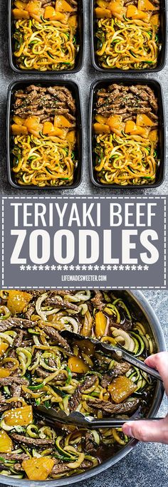 Pan Teriyaki Beef Stir Fry {Zucchini Noodles} is the perfect easy gluten fre.One Pan Teriyaki Beef Stir Fry {Zucchini Noodles} is the perfect easy gluten fre. Sunday Meal Prep, Lunch Meal Prep, Meal Prep Bowls, One Pan Meal Prep, Paleo Meal Prep, Food Prep, Weekly Meal Prep Healthy, Stir Fry Meal Prep, Best Meal Prep