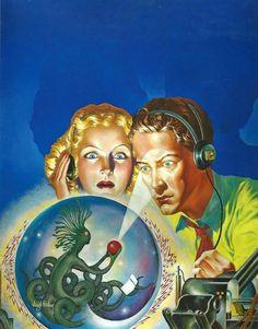 Mystery of the Skymen by Virgil Finlay, Pulp Magazine cover art Fantasy Movies, Sci Fi Fantasy, Ufo, Aliens, Sci Fi Kunst, Science Fiction Kunst, Alien Art, Retro Futuristic, Pulp Art
