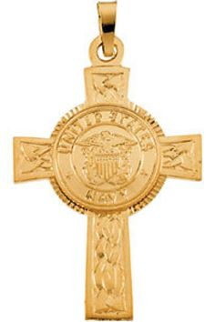 U.S. Navy Cross Pendant     Quality - 14K Yellow Gold     Size - 28.50 x 20.75 MM     Finish - Polished     Series Description - US NAVY CROSS     Weight: 1.6 DWT ( 2.49 grams)     ST-R42063G    http://www.thesgdex.com
