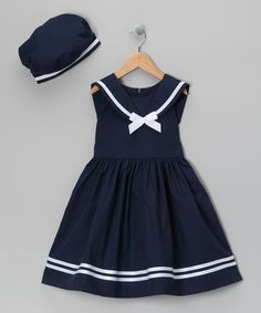 Navy Dress & Beret - Infant, Toddler & Girls by Jayne Copeland #zulily #zulilyfinds