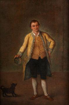 GIOVANE GENTILUOMO CON CANE – JUNGER EDELMANN MIT HUND Öl auf Leinwand. 51 x 36 cm. Gerahmt. Pietro Longhi war ein feinsinniger Beobachter des täglichen...