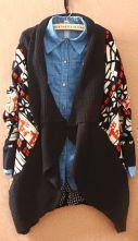 Black Long Sleeve Asymmetrical Floral Cardigan Sweater $38.40  #SheInside #hipster #love #cute #fashion #style #vintage #repin #follow