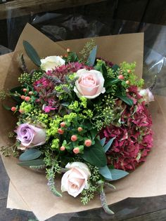 English Hydrangea with Alchemilla, Hypericum and Sweet Avalanche roses made by Alice