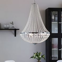 Granso Crystal Large Chandelier - Crystal from Online Lighting. Delivered direct to your door - Buy online today Hallway Chandelier, Chandelier For Sale, Large Chandeliers, 3 Light Chandelier, King Duvet Cover Sets, Home Living, Living Room, Fluorescent Lamp, Halogen Lamp