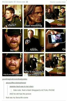 This is why, personally, like the show supernatural. The comedy that fits the ore serious storyline. Sam Dean, Misha Collins, Destiel, Johnlock, Emmanuelle Vaugier, Supernatural Memes, Supernatural Wallpaper, Supernatural Pictures, Supernatural Tattoo