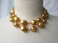 Vintage mid century gold pearlised glass bead double by evaelena, $43.00