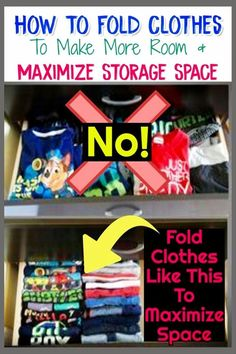 Clutter Control for Moms - How To Organize Your Family, Your Home AND Your Life How To Fold Clothes To Save Space KonMari Style. Whether you're folding clothes in dorm or bedroom drawers or for travel / for packing, these space-saving fold Bedroom Storage Ideas For Clothes, Bedroom Storage For Small Rooms, Bedroom Organization Diy, Organization Hacks, Organizing Clutter, Organising, Organizing Ideas, Konmari, Space Saving Storage